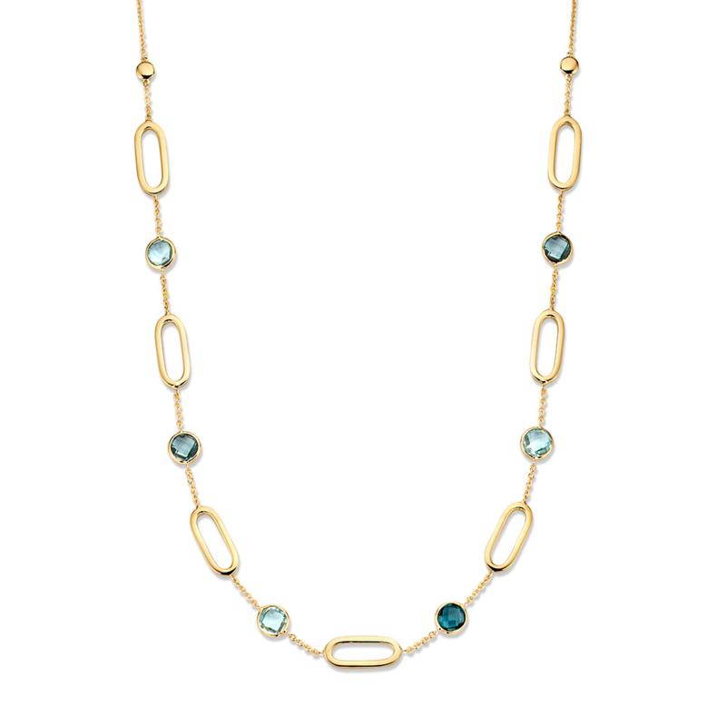 Excellent Jewelry Geelgouden Schakelcollier met Blauwe Topaas