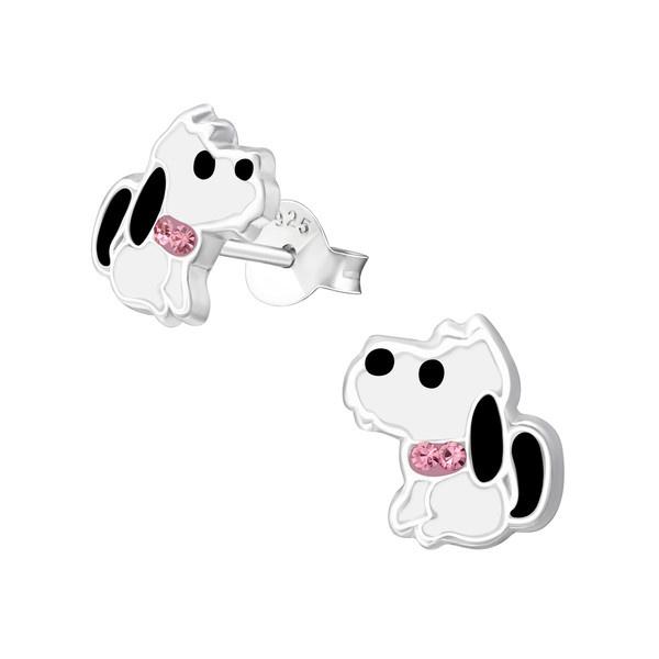 Zilveren Kinderoorbellen Hondje met Roze Strik