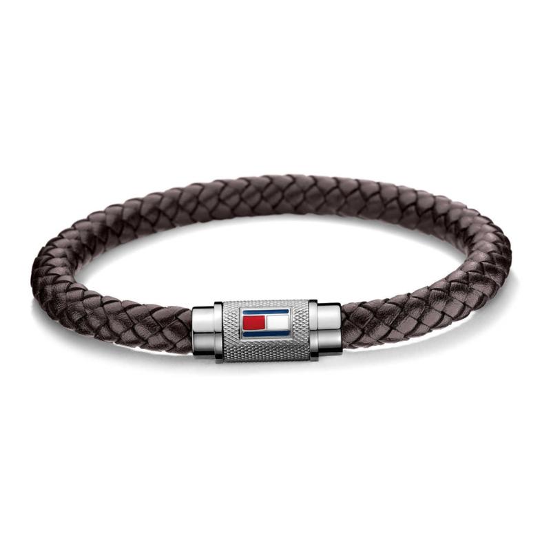 Bruin Lederen Gevlochten Armband van Tommy Hilfiger TJ2700998