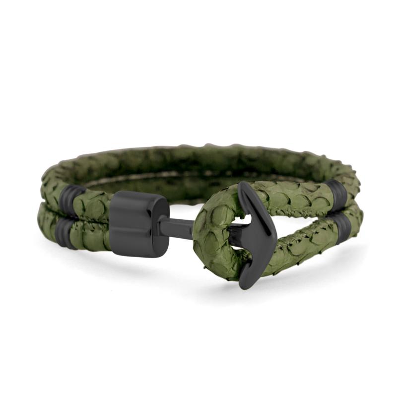 Hooked Army Groene Lederen Armband
