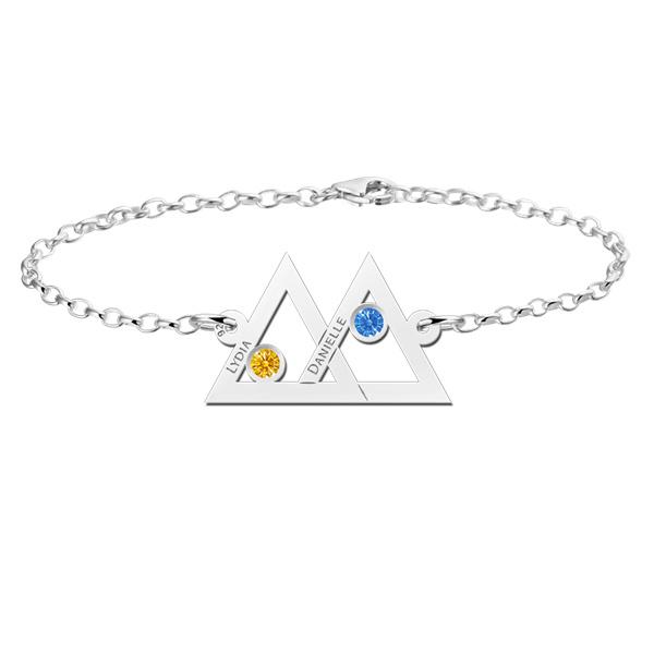 Names4ever Dubbele Driehoek Zilveren Moeder en Dochter Graveer Armband met Geboortestenen