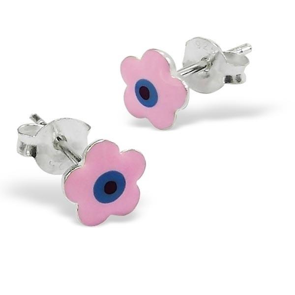 Roze bloem oorbellen in zilver SU121-roze