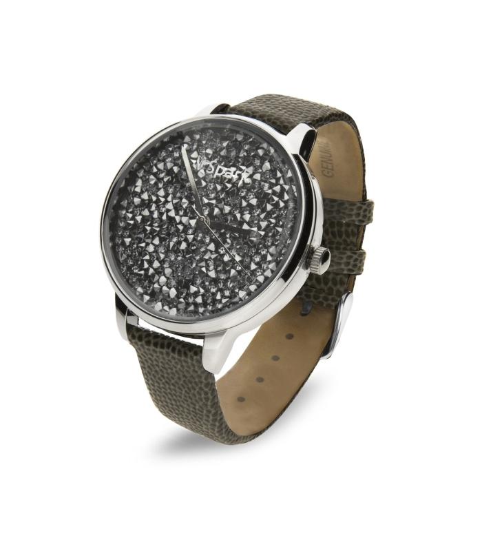Spark Crono Horloge met Grijs Lederen Horlogeband
