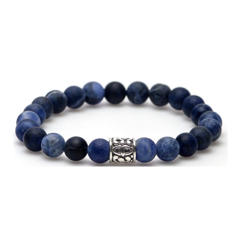 Liquid Grote Blauwe Kralen Armband met Zilveren Bedel