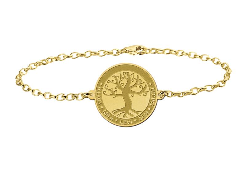 Gouden Armband met Ronde Decoratieve Levensboom Naamhanger > Names4ever
