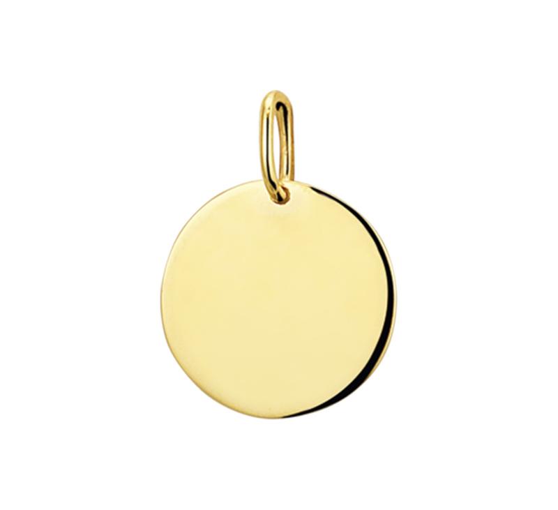 Ronde Graveer Hanger 14 Karaats Geelgoud   Initial Coin