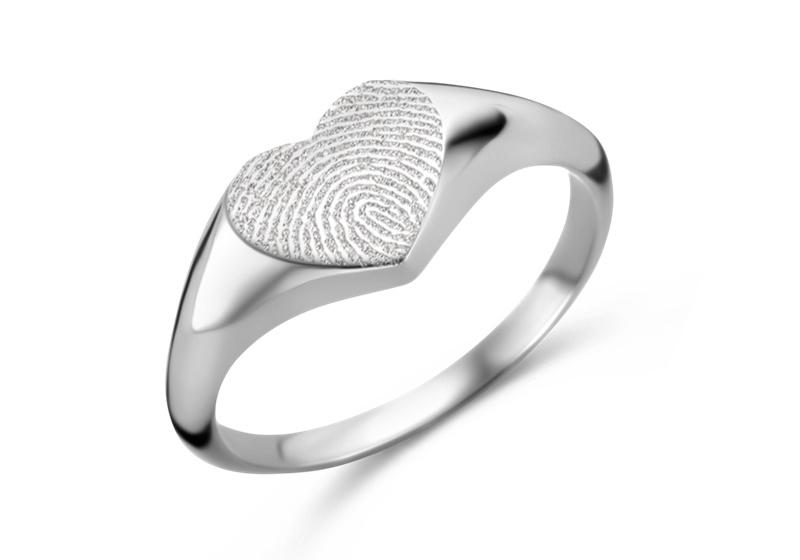 Zilveren Zegelring Hartvorm met Vingerafdruk | Names4ever