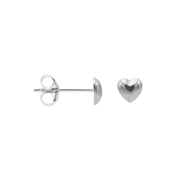 Zilveren Oorknoppen met 3D Hart   Karma Jewelry