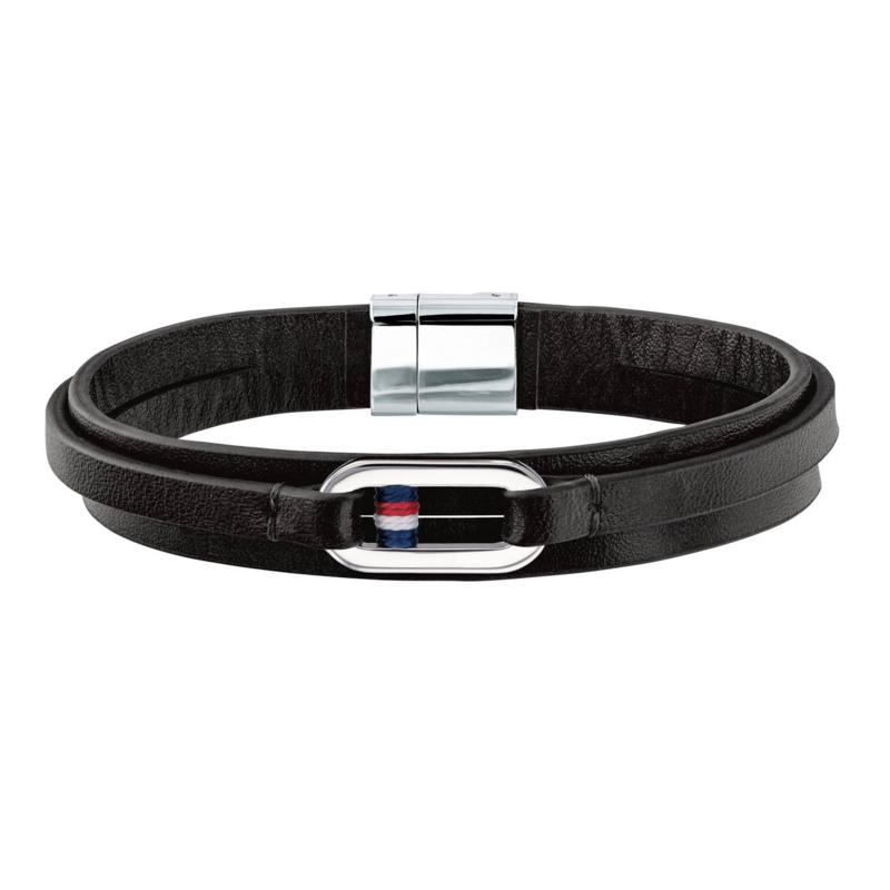Tommy Hilfiger Zwart Lederen Armband met Schakel