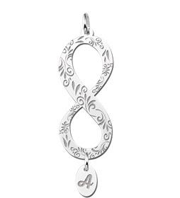Names4ever Zilveren Infinity Hanger met Letterhanger Verticaal ZNHI10