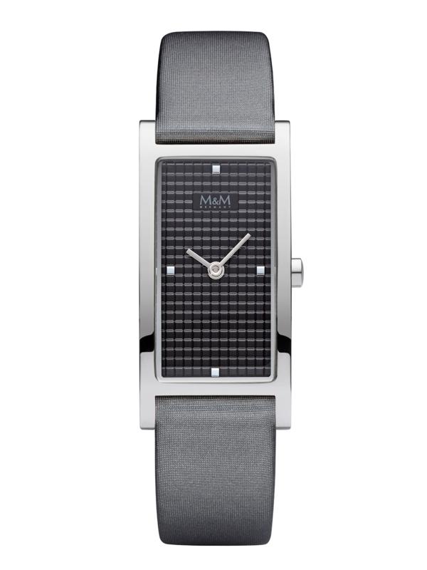 Rechthoekig M&M Horloge voor Dames met Grijs Lederen Horlogeband