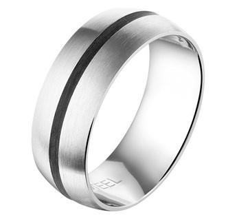Heren Ring van Edelstaal met Carbon / Maat 19