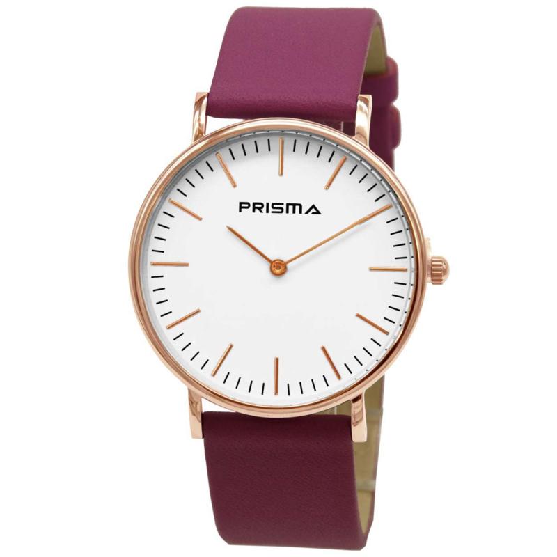 Prisma Verfijnd Roségoudkleurig Dames Horloge met Fuchsia Horlogeband