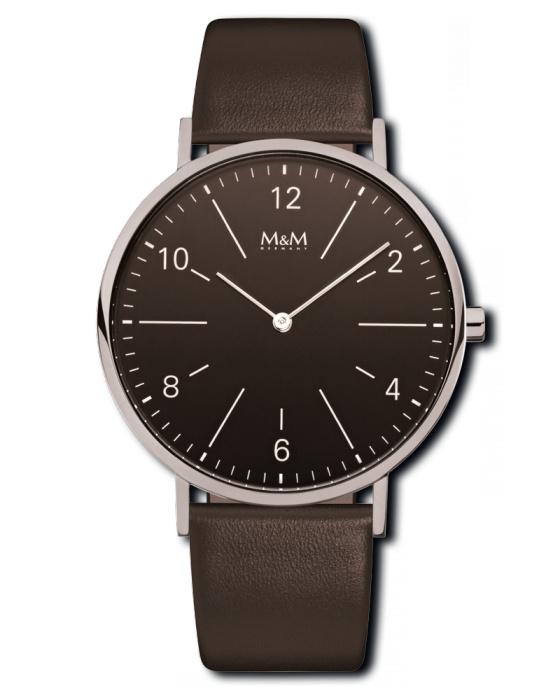Zilverkleurig Unisex Horloge met Donkerbruin Lederen Band van M&M