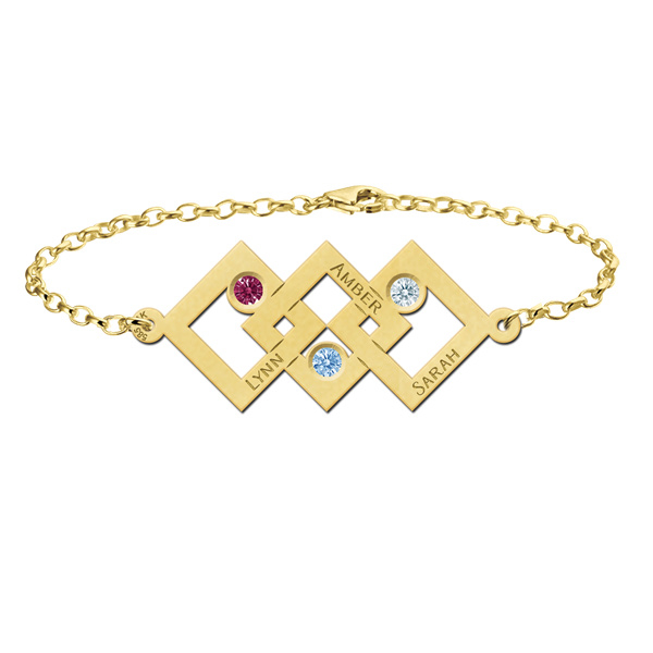 Driedubbele Vierkant Gouden Moeder en Dochter Armband > Names4ever