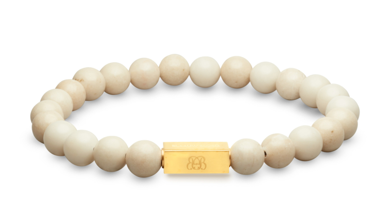 Essential Gold   Witte Jade Kralen Armband van Blaauw Bloed