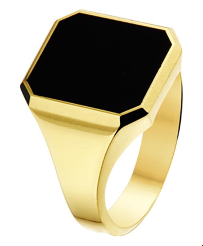 Geelgouden Gepolijste Ring met Achthoekige Zwarte Onyx