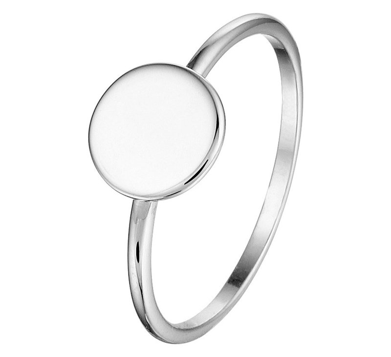 Ring van Zilver met Rond Kopstuk | Initial Ring Zilver