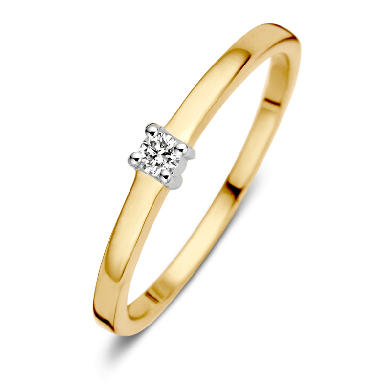 Excellent Jewelry Gouden Ring met 0,06 crt. Briljant