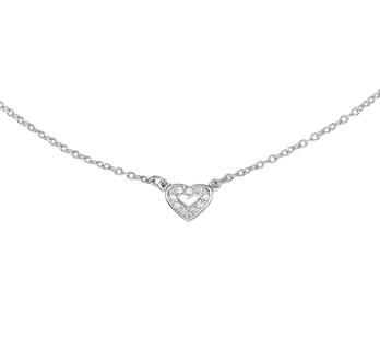 Zilveren Anker Collier met Klein Opengewerkt Zirkonia Hart | Sale