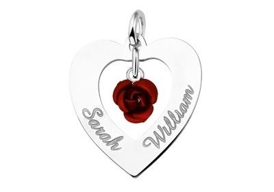 Names4ever Zilveren Harthanger Rode Roos ZNH09-ROOS