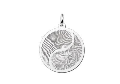 Names4ever Zilveren Yin Yang Hanger met Vingerafdruk