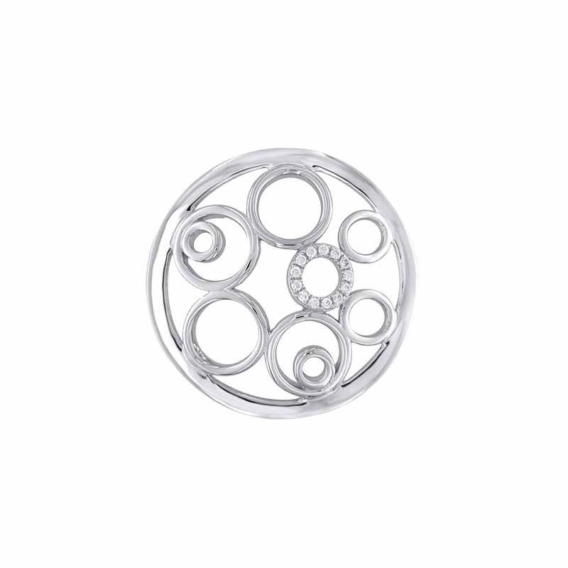 Zilveren 24mm Insignia met Cirkels en Zirkonia's van MY iMenso