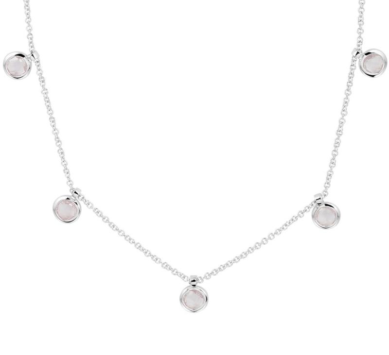 Zilveren Anker Collier met Vijf Rozekwarts Edelsteen Hangers