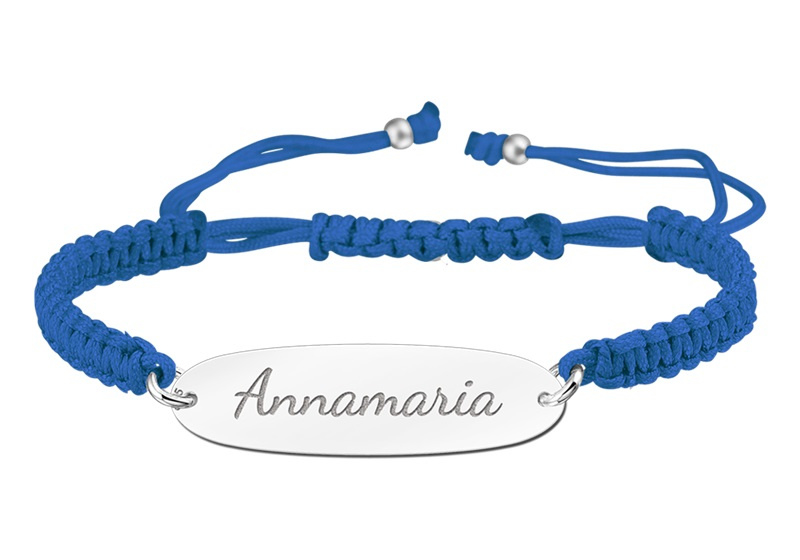 Blauwe Naamplaatje Armband > Names4ever