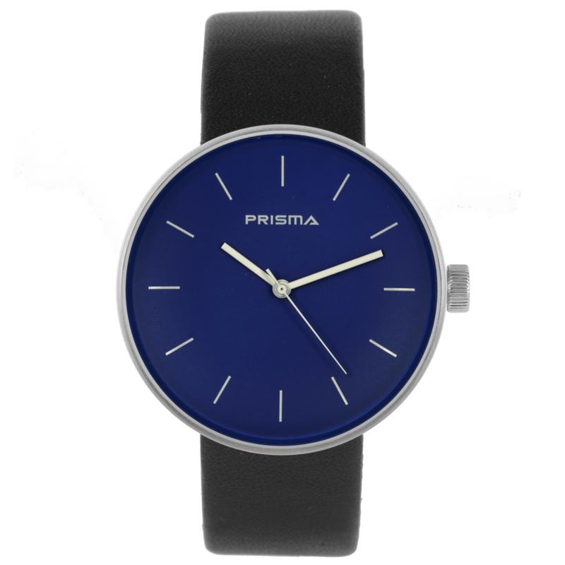 Prisma Basic Zilverkleurig Dames Horloge met Donkerblauwe Wijzerplaat