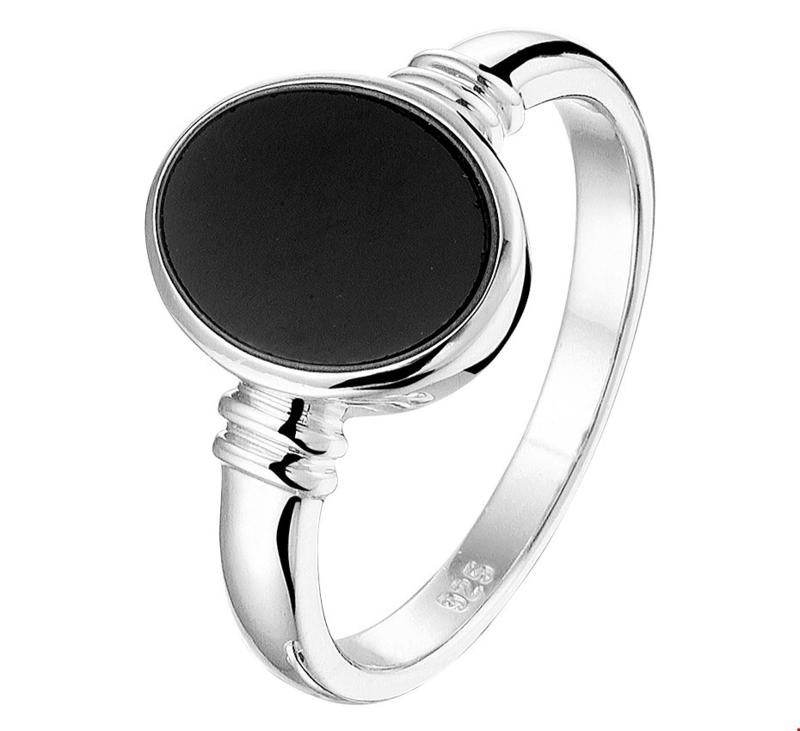 Zegelring van Zilver met Zwarte Onyx Steen / 19mm