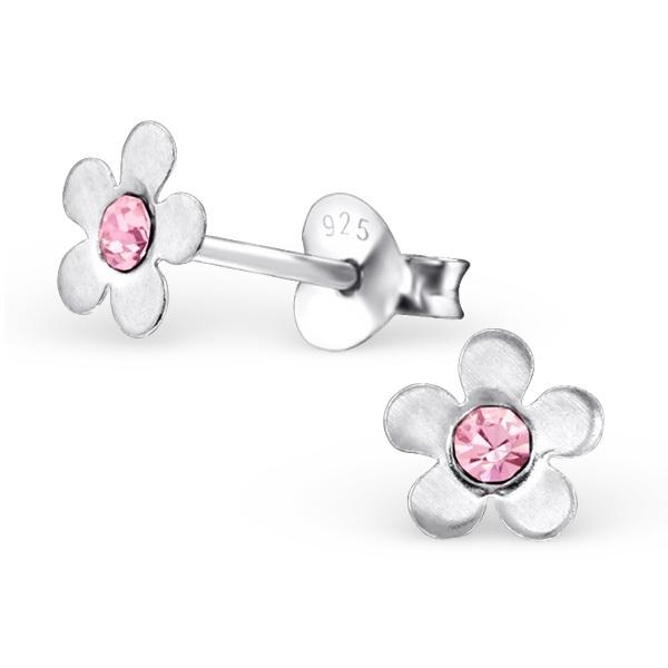 Bloemen Oorbellen + Strass steentje roze