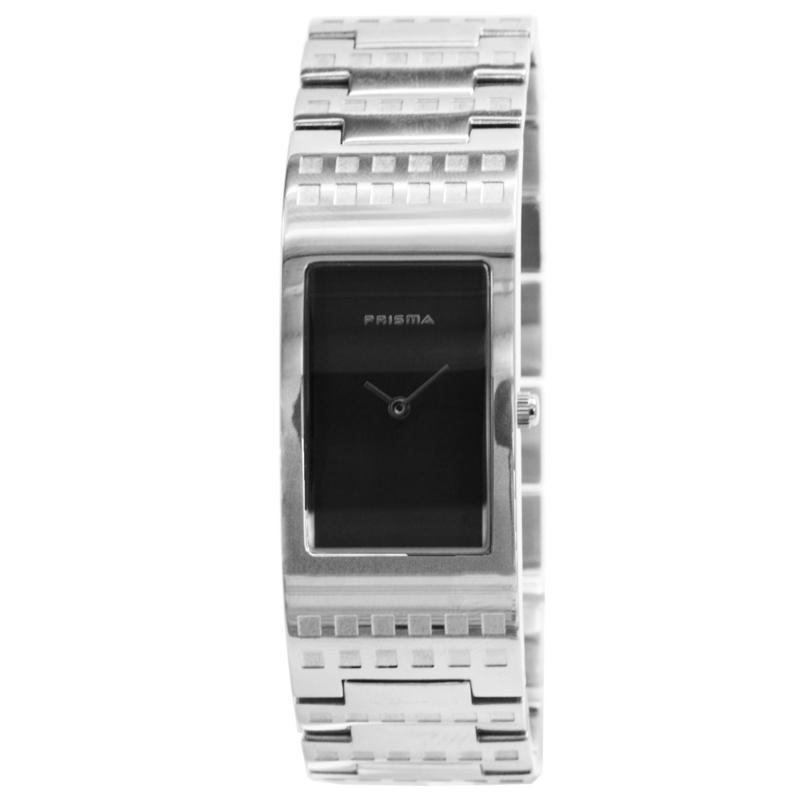 Prisma Rechthoekig Dames Horloge met Zwarte Wijzerplaat