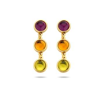 Gouden Oorhangers Kleurstenen