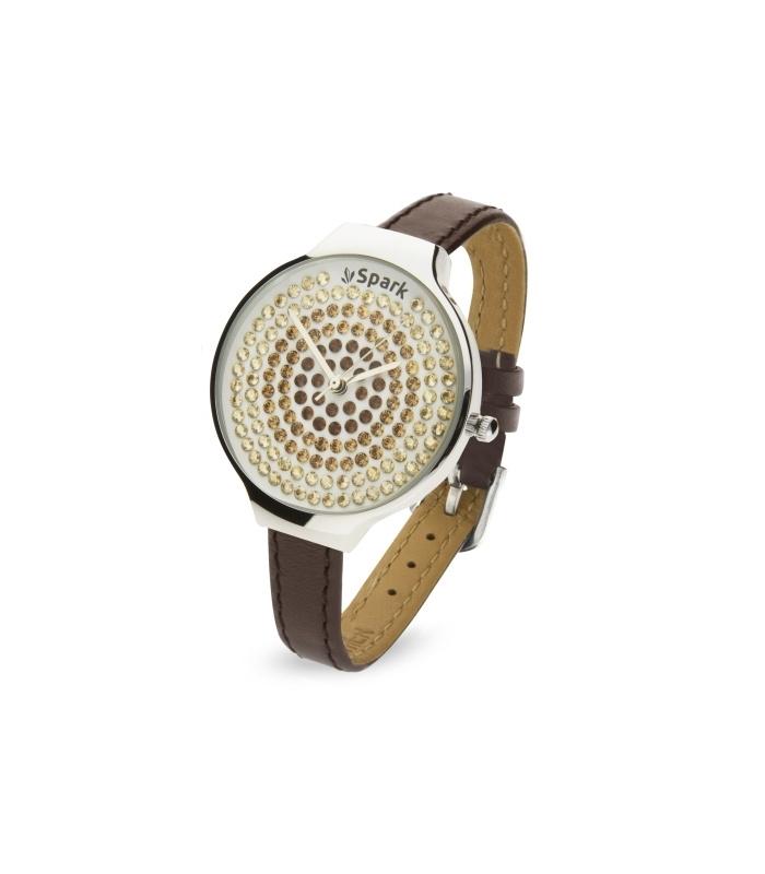 Spotty Horloge met Bruin Lederen Horlogeband van Spark