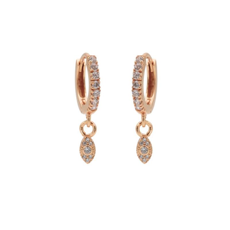 Roségoudkleurige Oorhangers met Kleurloze Zirkonia's   Karma Jewelry