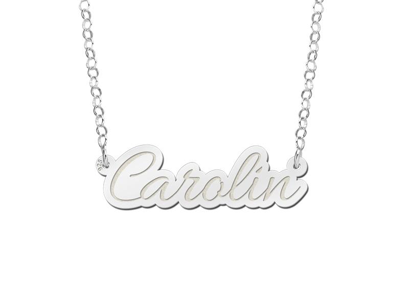Names4ever Carolin Model Zilveren Naamketting van Names4ever