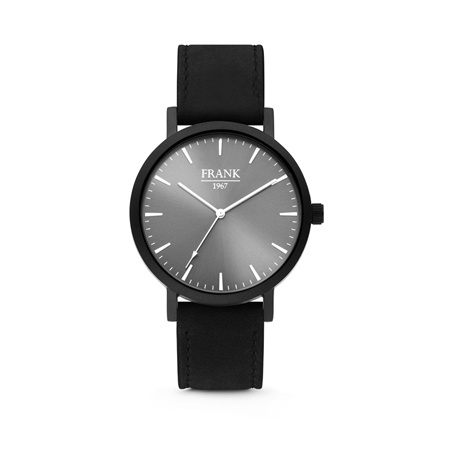 Zwart Horloge van Frank 1967 met Grijze Wijzerplaat en Zwarte Horlogeband