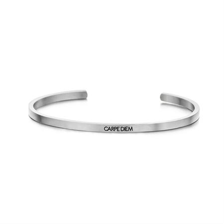 Zilverkleurige 'Carpe Diem' Bangle Armband van Edelstaal