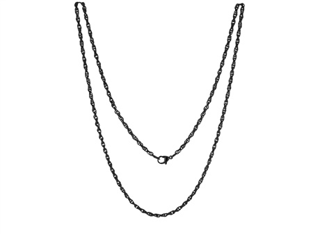 LOCKits Zwart Edelstalen Heli Twist Collier 60cm