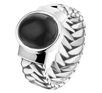 Zilveren Ring met Onyx Steen / Ringmaat 22,2