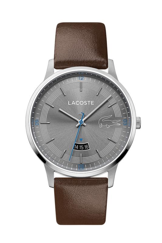 Lacoste Zilverkleurig Madrid Heren Horloge met Bruin Lederen Horlogeband