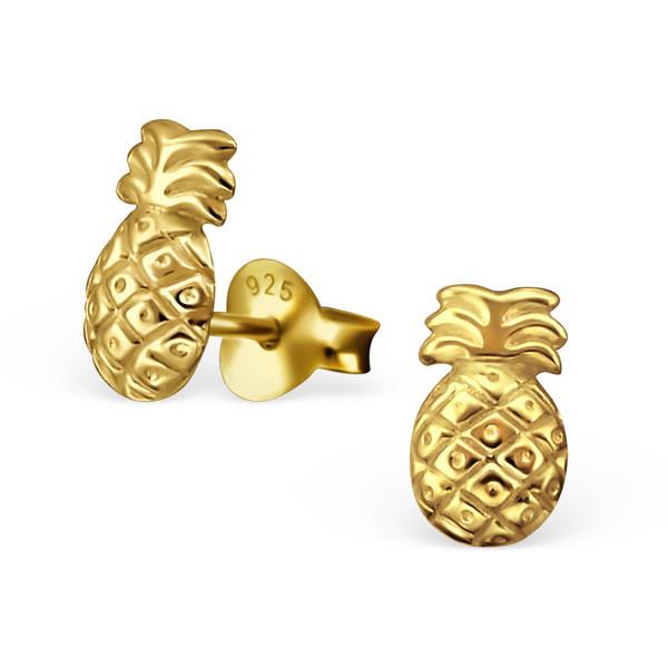 Pineapple Ear Studs - Goudkleurige Ananas Oorknoppen