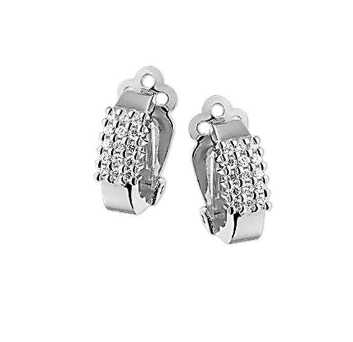 Vlakke Oorclips van Gerhodineerd Zilver met Zirkonia Kopstuk