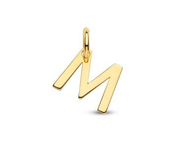 Letter M Hanger in massief 14 Karaat Goud