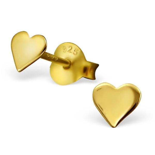 Goudkleurige Hart Oorbellen van Zilver