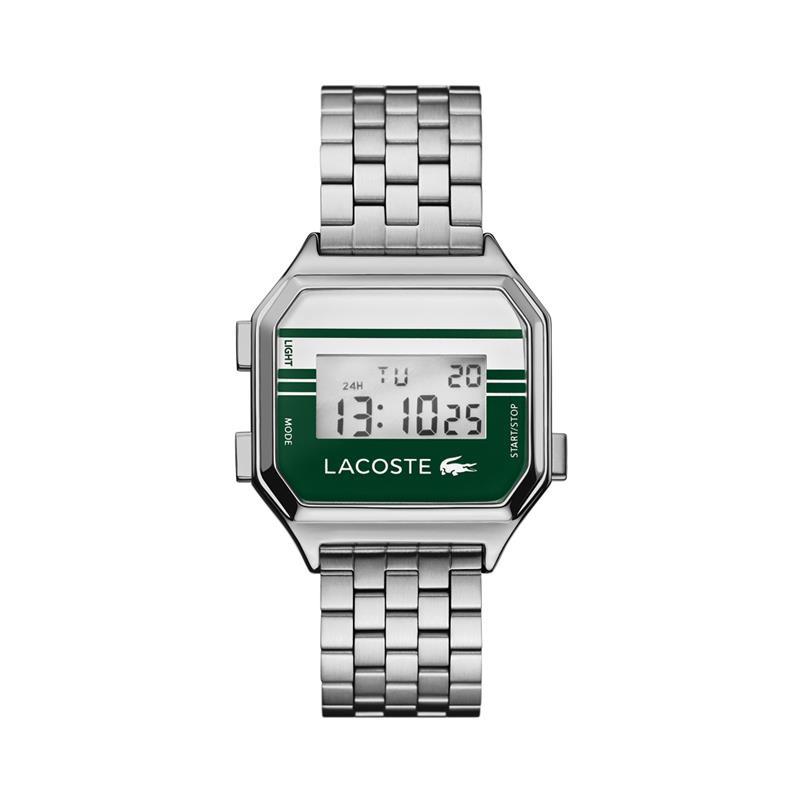 Lacoste Zilverkleurig Unisex Berlin Horloge met Digitale Tijdweergave