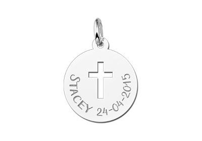 Names4ever Zilveren Ronde Graveerplaatje met Kruis