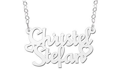 Names4ever Christel-Stefan Stijl Zilveren Naamketting
