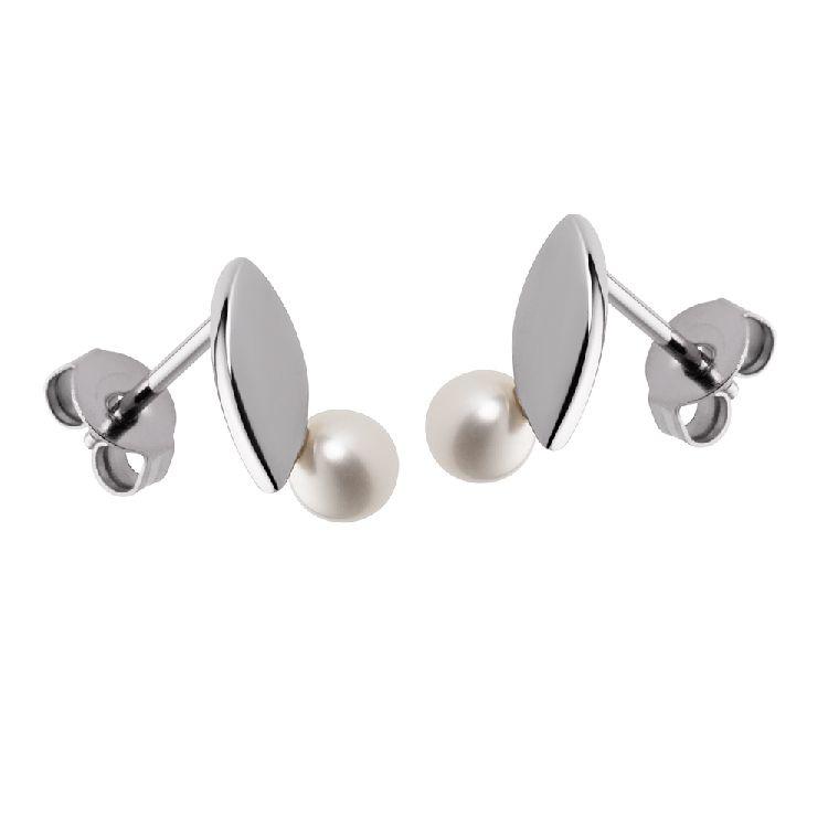 Zilverkleurige Oorstekers met Bladvormig Plaatje en Zoetwaterparel van M&M